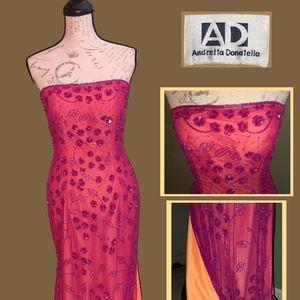 Andrea Donatella Dark Pink prom gown
